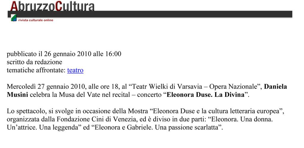 Abruzzo Cultura - 26 Gennaio 2010